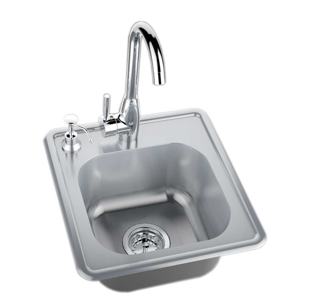 Hot and cold water faucet for outdoor sink - Bbq Sinks
