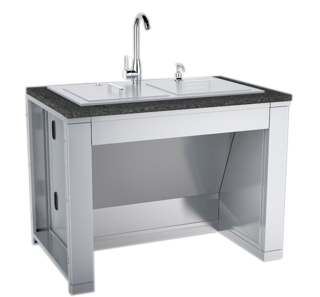 37 ada compliant double sink with covers hot cold faucet